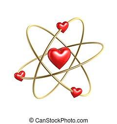 älska hjärta, atom, struktur