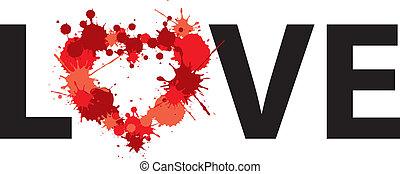 älska hjärta, pricken, illustration, ord