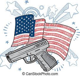 älskar, vapen, amerika, skiss