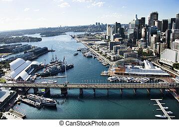 älskling, australia., hamn