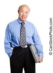 älter, asiatisch, geschäftsmann, und, laptop