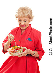 älter, dame, essende, gesunde, salat