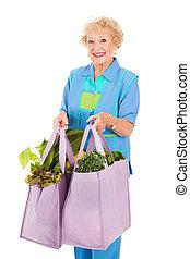 älter, dame, geschäfte, grün