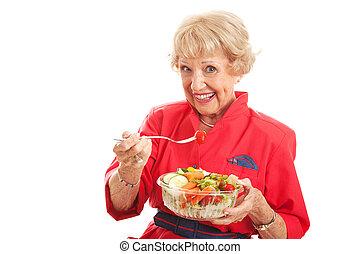 älter, dame, -, gesundes essen