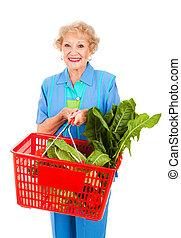 älter, dame, lebensmitteleinkäufe
