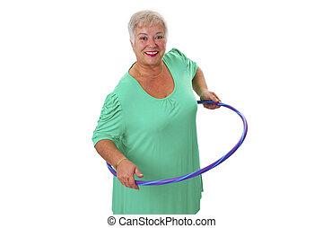 älter, dame, machen, gymnastisch