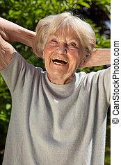 älter, dame, mit, a, sinn, von, humor