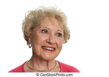 älter, dame, optimistisch