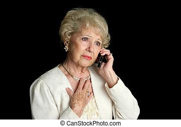 älter, dame, -, traurige , nachrichten