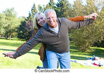 älter, ehepaar., glücklich