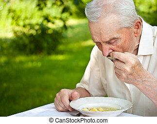 älter, essende, mann