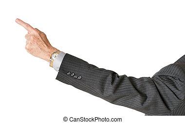 älter, kaukasier, geschäftsführung, zeigen finger, und, freigestellt