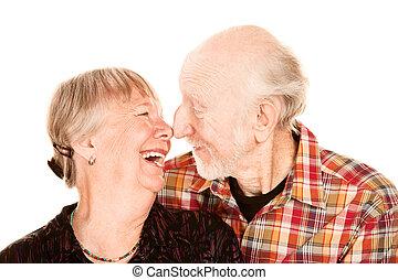 älter, lächeln, berühren, paar, nasen
