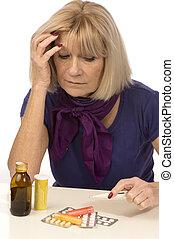 älter, medicine-woman, gesundheit, haben, kopfschmerzen