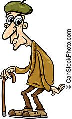 älter, mit, krückstock, karikatur, abbildung
