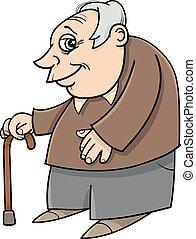 älter, mit, krückstock, karikatur