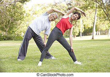 älter, park, paar, trainieren