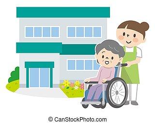 älter, personal, frauen, pflegeheime, rollstühle