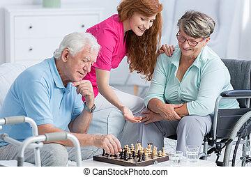 älter, probleme, patienten, gehen