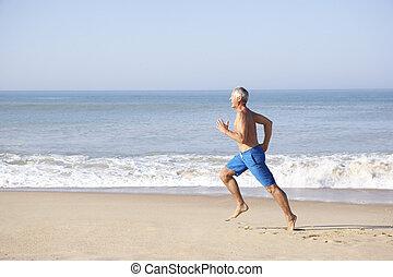 älter, sandstrand, rennender , mann