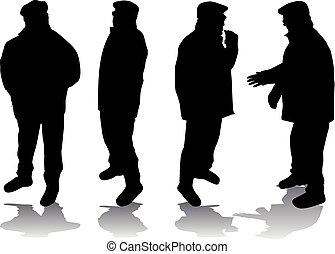 älter, .silhouettes, von, leute.