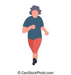 älter, sportlerin, running., alte frau, jogging., erholung, und, freizeit, älter, tätigkeiten, concept., karikatur, senioren, weibliche , vektor, character.