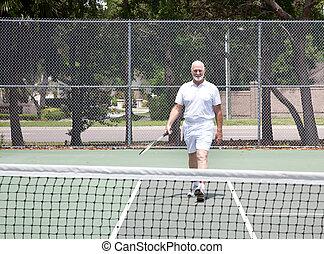 älter, tennisplatz, mann