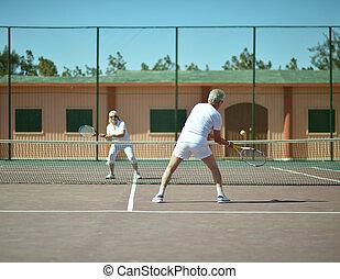 älter, tennisplatz, paar