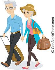 ältere, auf, a, reise