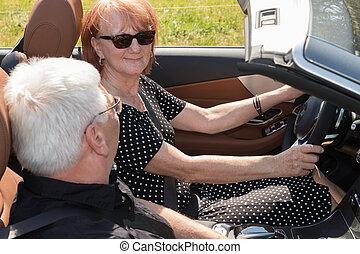 ältere, auto, paar, senioren, glücklich