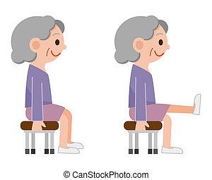 ältere frau, übungen