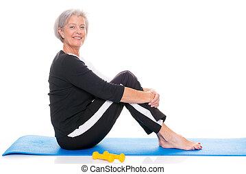 ältere frau, an, workout