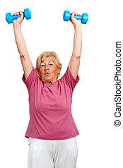 ältere frau, arme, anheben, weights.