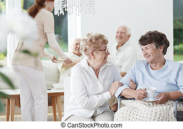 ältere frau, auf, rollstuhl