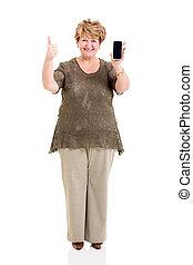 ältere frau, besitz, klug, telefon, und, geben, daumen
