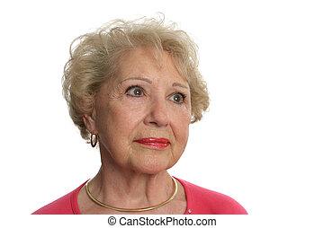 ältere frau, gesichter, unsicher, zukunft