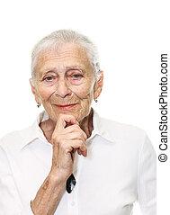 ältere frau, lächeln, in, fotoapperat