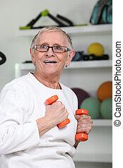 ältere frau, machen, fitness