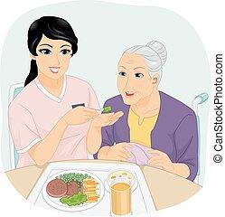ältere frau, mahlzeit, m�dchen, krankenschwester