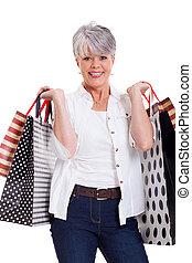 ältere frau, mit, einkaufstüten