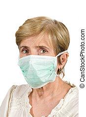 ältere frau, mit, schützende maske