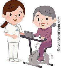 ältere frau, trainieren, auf, stationär, fahrräder, in, gesundheit klasse