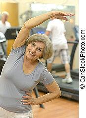 ältere frau, trainieren