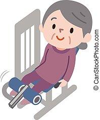 ältere frauen, trainieren, fitness