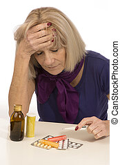 ältere gesundheit, und, medicine-woman, haben, a, kopfschmerzen