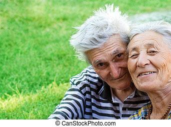 ältere, glücklich, zwei, mögen
