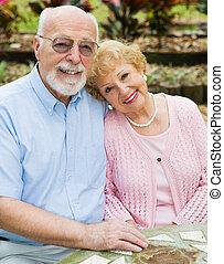 ältere, liebe, glücklich