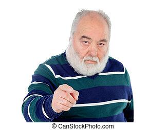 ältere männer, zeigen, fotoapperat, mit, seine, finger