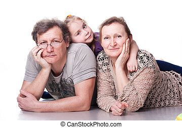 ältere, paar, enkelkind, glücklich