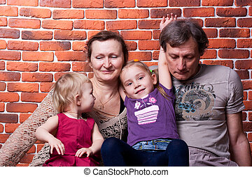 ältere, paar, enkelkinder, glücklich